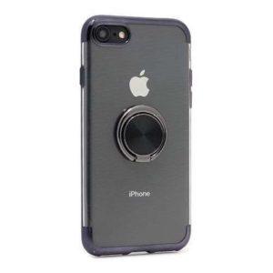 iPhone SE 2020 Silikonska futrola Magnetic ring (Black) - Mgs mobil Niš